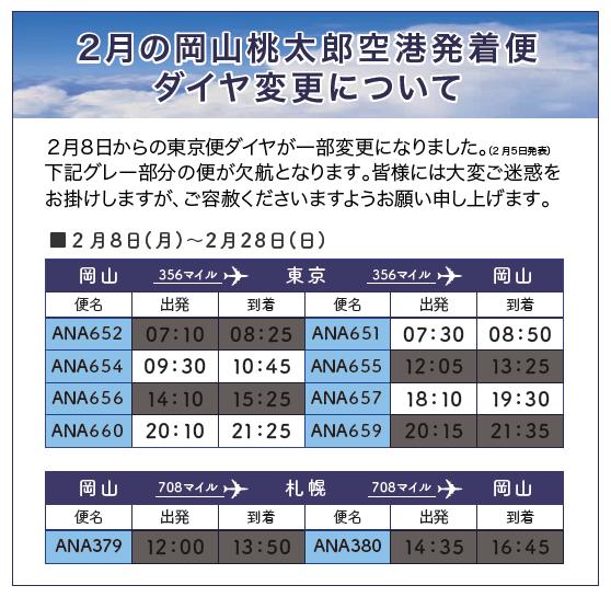 2月ANA運航スケジュールについて